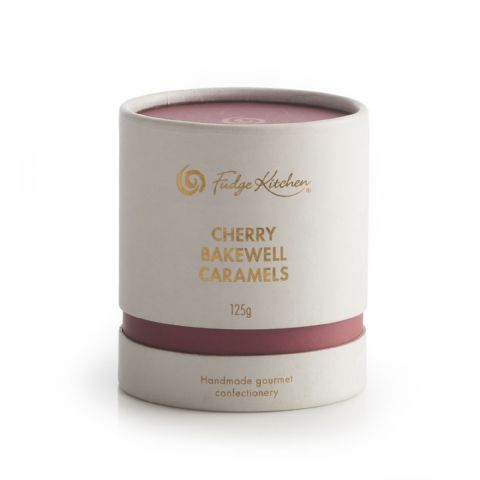 Cherry Bakewell Caramels In Milk Chocolate  By Fudge Kitchen Gift Box 125g